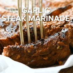 Garlic Marinade gives your steak so much flavor! It also provides a juicy, tender and delicious steak that is prepared on your grill or in your grill pan. This marinade recipe is quick, easy and made with pantry staples! Steak Marinade Recipes, Grilled Steak Recipes, Grilling Recipes, Meat Recipes, Mexican Food Recipes, Cooking Recipes, Bbq Marinade, Easy Steak Recipes, Recipes Dinner