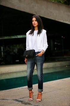 @Ja Ha lace bomber jacket & boyfriend jeans