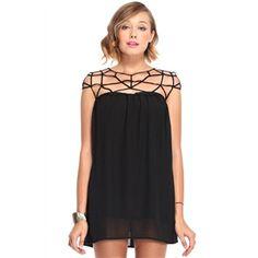 Cut-out Upper Sleeveless Black Bandeau Dress | pariscoming