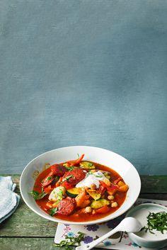 Kichererbsensuppe mit Süßkartoffeln und Paprikawurst