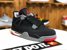 save off 809c8 66a1d 2019 Mens Air Jordan 4 Retro Bred Black Cement 308497-089 Shoes To Buy-