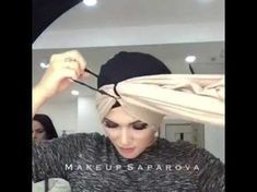 Turban with a scarf in love Turban Hijab, Turban Mode, Head Turban, Turban Headbands, Turban Tutorial, Hijab Style Tutorial, Hair Wrap Scarf, Hair Scarf Styles, Ways To Wear A Scarf
