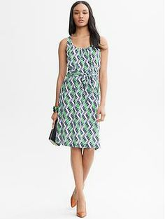 Lydia Silk Dress | Banana Republic // Looks fab with the orange suede Cole Haan peep toes that I just got.