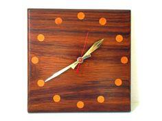 Danish Modern Wall Clock, Mid Century Modern MCM Scandinavian Design, Wood Square Clock with Inlaid Teak Walnut