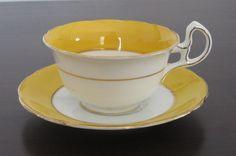 Vintage Royal Stafford Bone China Tea Cup and Saucer, Lemon Yellow & White