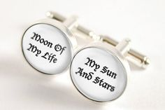 In Dothraki legend, the moon is a goddess, the wife of the sun. These heartfelt cufflinks pay homage to Khal Drogo and Daenerys Targaryen's pet names for one another.
