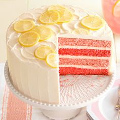 This colorful Pink Lemonade Cake is perfect for spring get-togethers! See more elegant and easy cakes: http://www.bhg.com/recipes/desserts/cakes/elegant-easy-cakes/?socsrc=bhgpin030213lemonadecake