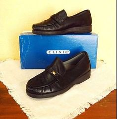 Clinic Shoes Wendy Foot Thrills Leather Classic Slip On Loafer 7.5M Black Comfy