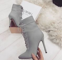 54 High Heels Boots To Rock This Season - Shoes Fashion & Latest Trends Heels Boots # Surprisingly Cute High Heels Boots High Heels Boots, Cute High Heels, Lace Up Heels, Heeled Boots, Bootie Boots, Shoe Boots, Grey High Heels, Ankle Boots, Grey Boots