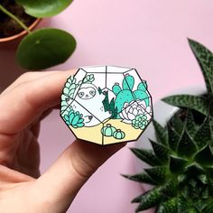 Terrarium Garden Sloth Enamel Pin by ShopZoki on Etsy