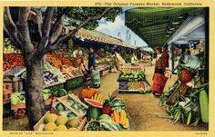 Original Farmers Market, West 3rd at Fairfax.  Still there and more popular than ever.  They still have a few of those original 1940s green wood shopping carts around.