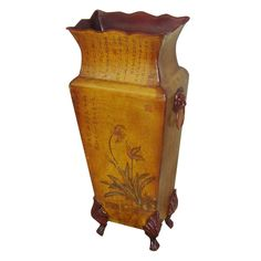 Have to have it. Oriental Unlimited 16H in. Double Flower Mahogany and Elm Wood Vase - $48 @hayneedle.com