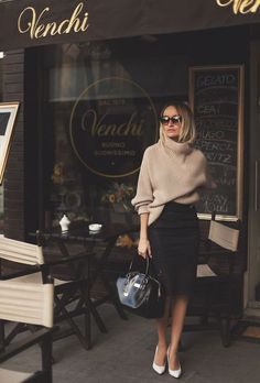 camel turtleneck sweater + lace black pencil skirt + white pointed pumps: