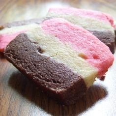"Neapolitan Cookies I | ""These were pretty good, but more importantly, people are very impressed at seeing a cookie that looks like a slice of Neapolitan ice cream!"""
