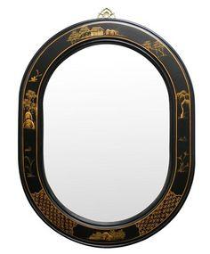 "Chinese Style Oval Wall Mirror - Chinoiserie Scenery Design 29""W x 2""D x 38""H $339 Rukutan.com"