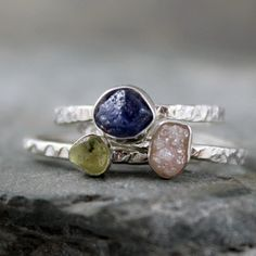 Stacking Rings - Rough Sapphire Rough Diamond - Sterling Silver Trio - Handmade and Designed by A Second Time. $400.00, via Etsy.