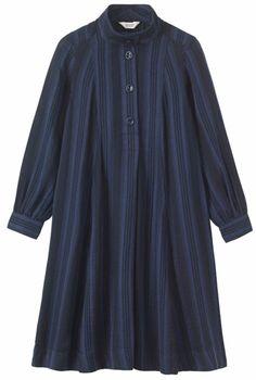 Swingy dress in a soft, light, darkly striped cotton. Stylish Dresses For Girls, Stylish Dress Designs, Designs For Dresses, Casual Dresses, Muslim Fashion, Hijab Fashion, Fashion Outfits, Simple Pakistani Dresses, Kurta Designs