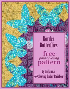 Butterflies Quilt Border Idea + free pattern #quilting