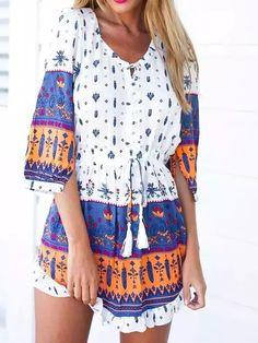 Multi Contrast 3/4 Sleeve Floral Tie Waist Flounce Hem Dress-top