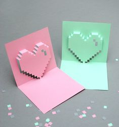 Printable Popup Pixel Valentine's Day Card by Mini-eco
