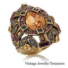 Heidi Daus Dazzlin Decade Crystal Accented STATEMENT Ring Size 7 New HSN