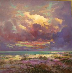 """""""Forgotten Coast"""" by Robert Andriulli -oil.Robert shows his work at Steven Scott Gallery Sky Painting, Painting & Drawing, Abstract Landscape, Landscape Paintings, Landscapes, Art And Illustration, Painting Inspiration, Art Inspo, Kunst Inspo"""