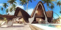 Shell Resort in Zanzibar, Tanzania - rendering and design by www. Bamboo Art, Overwater Bungalows, Architecture Plan, Tropical Houses, Luxury Villa, Tulum, Hotels And Resorts, Tanzania, Bali
