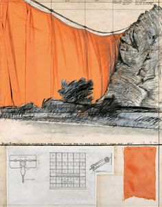 "Christo Valley Curtain (Project for Colorado) Collage 1971 28 x 22"" (71 x 56 cm) Pencil, fabric, wax crayon, hand-drawn technical data, fabric sample, tape and staples"