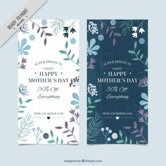 ❤︎ Floral Mother's Day banners Free Vector