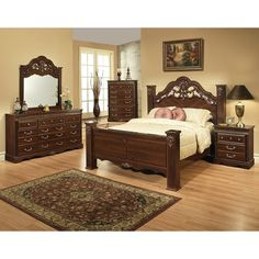 This traditional cherry brown bedroom set by Sandberg features a dresser, mirror, night stand, queen bed with a headboard, footboard and set of rails. With brass hardware handles and smooth operating steel roller glide drawer runers on the nightstand.