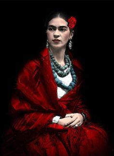 Retrato de Frida Kahlo em 1929 por Tina Modotti (foto colorizada).   Veja mais em: http://semioticas1.blogspot.com.br/2011/07/o-mito-frida-kahlo.html