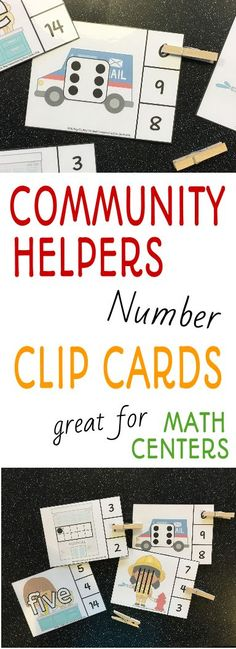 Add these engaging numbers clip it cards to the math center during your community helpers unit!