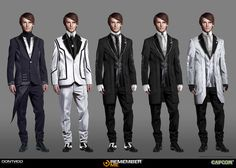 Concept and researches of the Citizen mal for the High paris done for the video game REMEMBER ME Arte Cyberpunk, Cyberpunk Fashion, Game Concept Art, Character Concept, Character Sheet, Dontnod Entertainment, Altered Carbon, Photoshop, Future Clothes