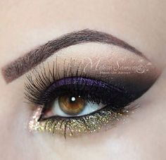 Purple and gold glitter eye makeup #eyes #eye #makeup #eyeshadow #bright #dramatic #bold