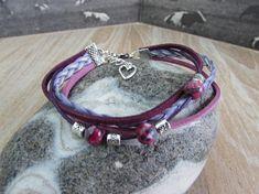Bracelet argenté multirangs  pourpre-rose-mauve