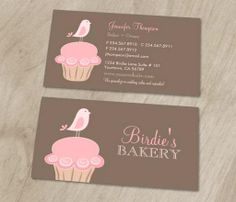 Bird and cupcake business cards This great business card design is available for customization. All text style, colors, sizes can be modified to fit your needs. Just click the image to learn more! | bizcardstudio.co.uk