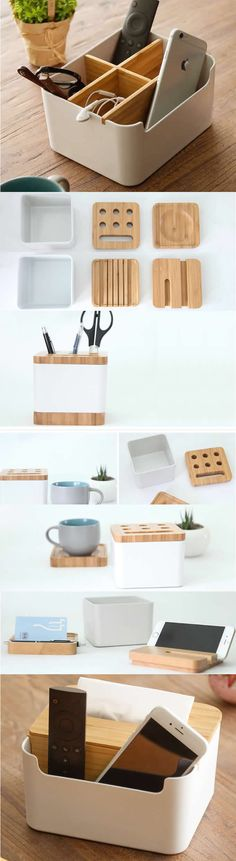 Wooden Multi-function Office Desk Stationery Organizer Cell Phone Holder Storage Box Pen Pencil Holder