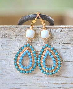 Turquoise and White Statement Earrings in Gold. Bold Earrings by RusticGem. Holiday Gift. Christmas Gift.