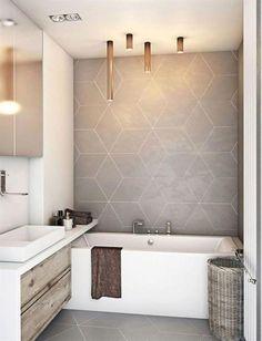 35 Modern Bathroom Decor Ideas Match With Your Home Design Style Bathroom design,Modern style,design ideas. Modern Bathroom Decor, Bathroom Interior Design, Decor Interior Design, Bathroom Lighting, Bathroom Vintage, Bathroom Grey, Bathroom Designs, Small Bathroom With Tub, Bathroom Feature Wall