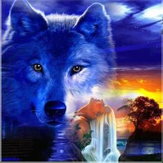 Image result for beautiful waterfall with a wolf