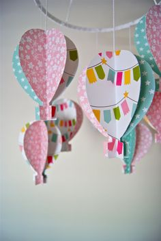 paper hot air balloon mobile in nursery colors
