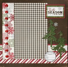Premade Scrapbook Page 12 x 12 Christmas Double Page  Layout -  Tis the Season