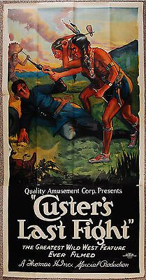 """1925 movie poster of """"Custer's Last Fight"""" rework with added scenes of Thomas Ince's 1912 film of same name."""