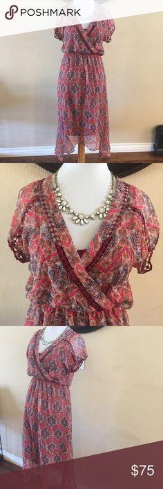 Ella Moss maxi silk Multi Color dress Excellent used condition. Has attached slip Ella Moss Dresses Maxi