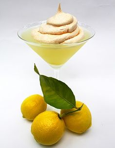 Lemon Meringue Cocktail 1 1/2 oz vodka (vanilla or lemon flavor is great here) 3/4 oz Limoncello lemon liquor 1/2 oz white creme de cacao   Mix in a shaker with ice, strain and serve in a martini glass Meringue recipe 2 egg whites pinch of cream of tartar 4 Tbsp sugar 1/2 tsp vanilla Beat egg whites and cream of tartar until frothy, add in sugar and vanilla and continue beating until steak peaks form Spoon on cocktail and toast with a torch. *makes enough meringue for multiple cocktails
