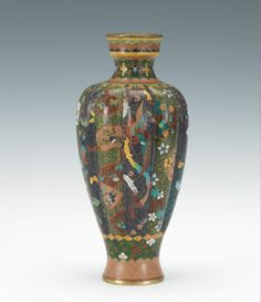 Cloisonne Melon Vase with Brocade Panels, Meiji Period