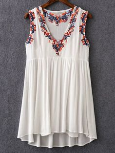 Sweet Vintage Style Cami Top and Retro Embroidery V-Neck Dress #Sweet #White #Floral #Top
