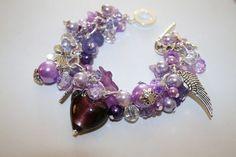 Gorgeous purple chunky charm Bracelet