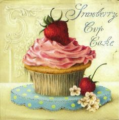 £1.19 GBP - 4X Vintage Strawberry Cup Cakepaper Napkins For Decoupage #ebay #Home & Garden
