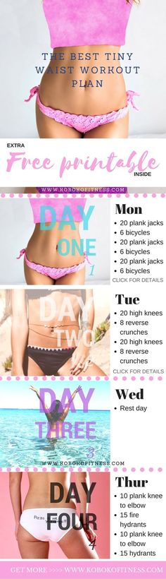 The Best 3 Day Tiny Waist Workout (  Free Printable) - Koboko Fitness-You have discovered the best tiny waist workout plan that you can do fast. This plan is only 3 days and perfect for beginners. Extra free printable included